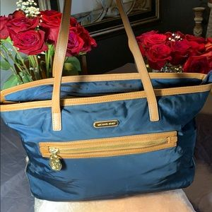 Michael Kors blue and brown tote
